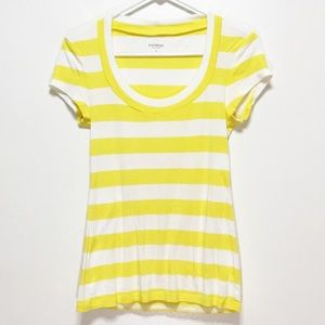 Express Yellow Stripped Scoopneck Short Sleeve Top